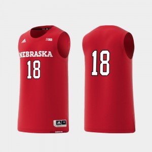 Replica Scarlet #18 Mens Basketball Swingman Nebraska College Jersey
