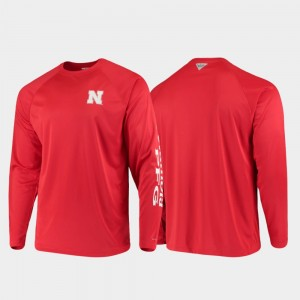 For Men's PFG Terminal Tackle Long Sleeve University of Nebraska Omni-Shade College T-Shirt Scarlet