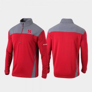 College Jacket Men's Scarlet University of Nebraska Quarter-Zip Pullover Omni-Wick Standard