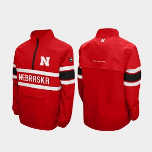 Men Scarlet Nebraska Quarter-Zip College Jacket Alpha Windshell Pullover