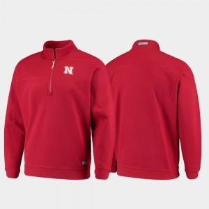 Nebraska Cornhuskers College Jacket Shep Shirt Scarlet For Men Quarter-Zip