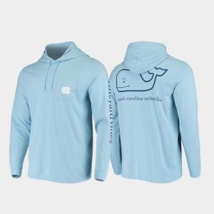 Hooded Long Sleeve Carolina Blue University of North Carolina For Men's College T-Shirt Whale