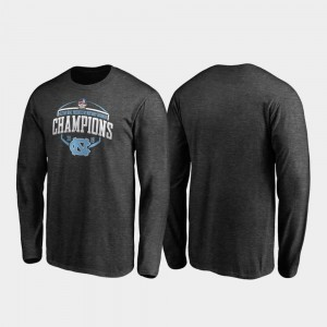 College T-Shirt Corner Long Sleeve For Men's Heather Gray 2019 Military Bowl Champions North Carolina Tar Heels