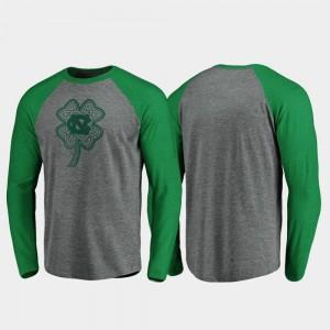Tar Heels Heathered Gray Raglan Long Sleeve Celtic Charm For Men's College T-Shirt St. Patrick's Day