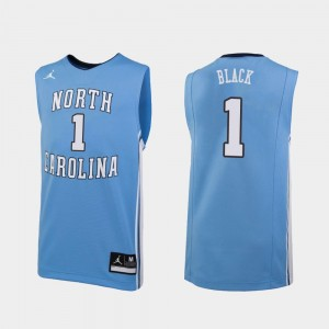 Carolina Blue Basketball Replica #1 University of North Carolina Leaky Black College Jersey For Men