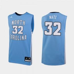 North Carolina Luke Maye College Jersey #32 For Men's Basketball Carolina Blue Replica