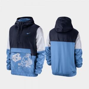 For Men Tar Heels Navy College Jacket Colorblock Anorak Quarter-Zip