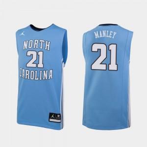 Sterling Manley College Jersey UNC Tar Heels Mens Basketball Replica #21 Carolina Blue