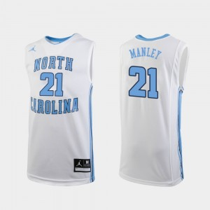 White For Men's #21 Sterling Manley College Jersey Basketball Replica UNC