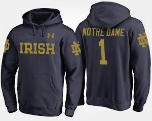 No.1 College Hoodie Navy Mens Fighting Irish #1