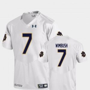 University of Notre Dame #7 Football Replica For Men Brandon Wimbush College Jersey White