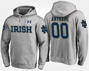 For Men #00 Notre Dame Fighting Irish College Customized Hoodie Gray