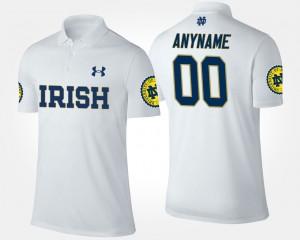 For Men's White #00 College Custom Polo Notre Dame