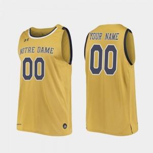 Replica Basketball College Custom Jerseys #00 Notre Dame Gold Mens