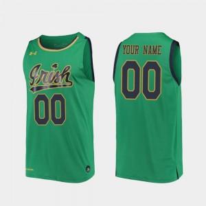 For Men's Kelly Green College Custom Jerseys #00 University of Notre Dame Replica 2019-20 Basketball