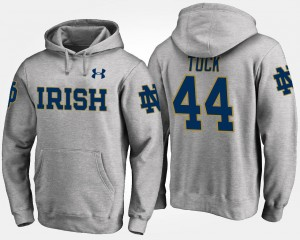 Notre Dame Fighting Irish Mens Gray Justin Tuck College Hoodie #44