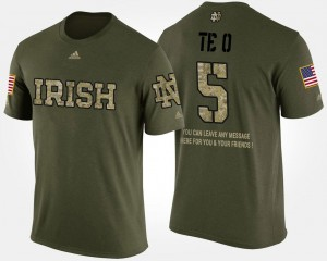 Camo Manti Te'o College T-Shirt #5 Military Short Sleeve With Message ND For Men