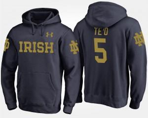 University of Notre Dame Navy Manti Te'o College Hoodie #5 Men's