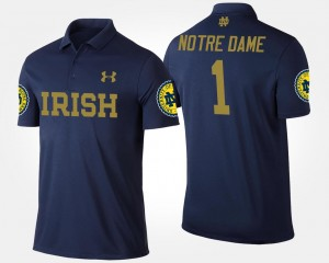 Notre Dame Navy #1 Men's No.1 Short Sleeve College Polo