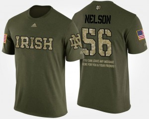 Short Sleeve With Message #56 Camo Men's Military Fighting Irish Quenton Nelson College T-Shirt