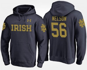Navy #56 Men Fighting Irish Quenton Nelson College Hoodie