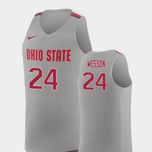 Pure Gray Andre Wesson College Jersey Buckeye Men #24 Replica Basketball