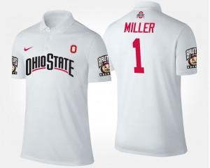 White Ohio State Braxton Miller College Polo For Men #5