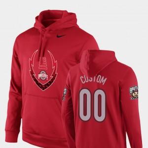 #00 Mens College Custom Hoodies Football Performance Icon Circuit Scarlet Buckeye