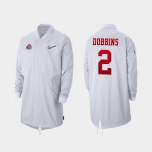 J.K. Dobbins College Jacket Men Full-Zip Sideline #2 Buckeye White 2019 Football Playoff Bound