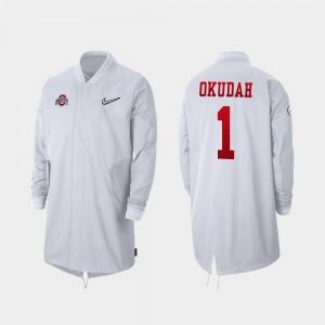 OSU Buckeyes #1 Full-Zip Sideline White Jeff Okudah College Jacket Mens 2019 Football Playoff Bound