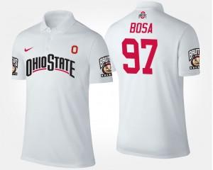 For Men Ohio State Buckeye #97 Joey Bosa College Polo White
