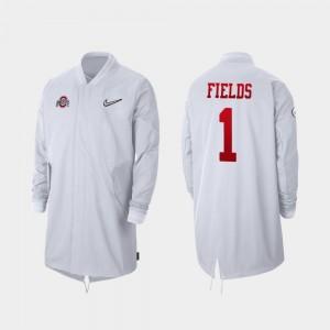 Full-Zip Sideline Justin Fields College Jacket #1 2019 Football Playoff Bound Ohio State White Men