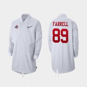 2019 Football Playoff Bound White Full-Zip Sideline #89 Ohio State Luke Farrell College Jacket For Men