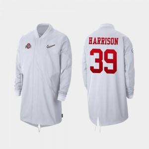 Men's Malik Harrison College Jacket 2019 Football Playoff Bound #39 Ohio State Full-Zip Sideline White