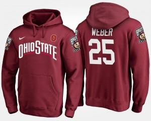 #25 Mike Weber College Hoodie OSU Buckeyes Scarlet Men
