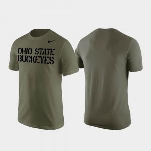 Stencil Wordmark Mens Olive OSU Buckeyes College T-Shirt