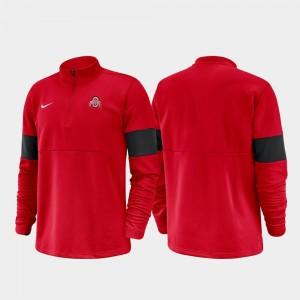 2019 Coaches Sideline Ohio State Buckeyes Half-Zip Performance Scarlet College Jacket Men's