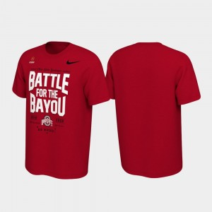 College T-Shirt 2019 Football Playoff Bound Ohio State Buckeyes Battle For The Bayou Mens Scarlet