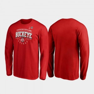 2019 Fiesta Bowl Bound Ohio State Buckeyes College T-Shirt Men Scarlet Primary Tackle Long Sleeve