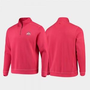 Men's Buckeyes Sport Nassau College Jacket Scarlet Half-Zip Pullover Tommy Bahama