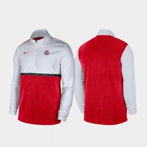 Men's College Jacket White Scarlet Buckeyes Color Block Quarter-Zip Pullover