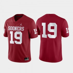 Crimson Game Mens #19 College Jersey OU Sooners