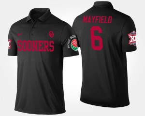 Baker Mayfield College Polo Men #6 Black Oklahoma Sooners Big 12 Conference Rose Bowl Bowl Game