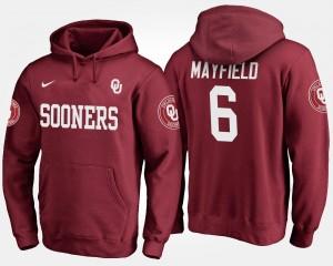 Baker Mayfield College Hoodie Men's #6 Crimson Oklahoma