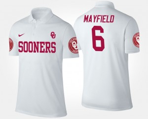 Mens White #6 Baker Mayfield College Polo Oklahoma