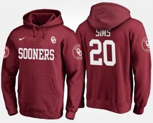 Billy Sims College Hoodie #20 Sooners Mens Crimson