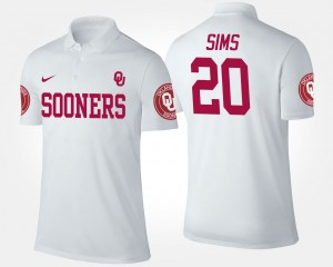 White Oklahoma Sooners For Men Billy Sims College Polo #20