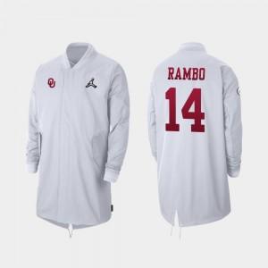 Full-Zip Sideline Charleston Rambo College Jacket Oklahoma Sooners 2019 Football Playoff Bound #14 Men's White