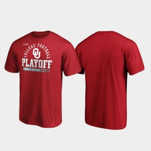 2019 Football Playoff Bound Sooners Safety Crimson College T-Shirt For Men's