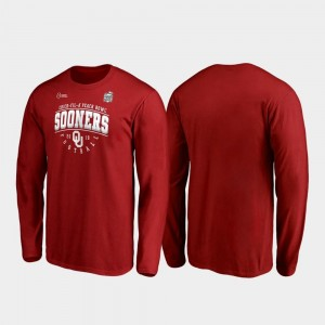 Crimson Oklahoma Sooners For Men's 2019 Peach Bowl Bound Primary Tackle Long Sleeve College T-Shirt